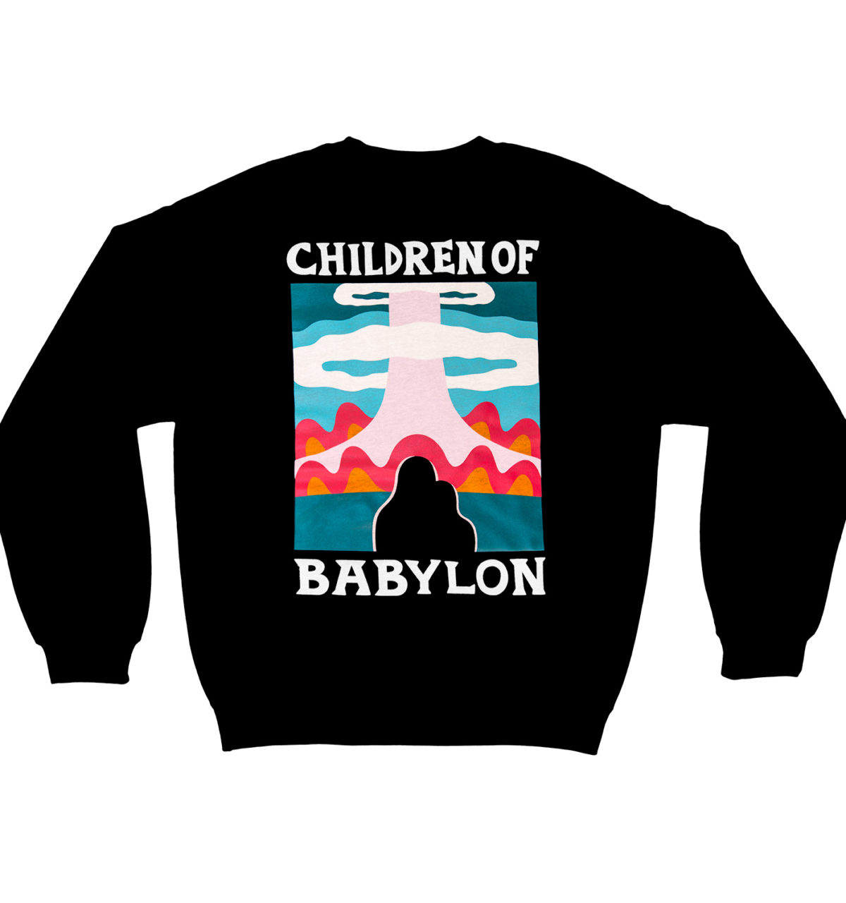 Black sweatshirt with colorful artwork printed on the back and illustration embroidery on the front