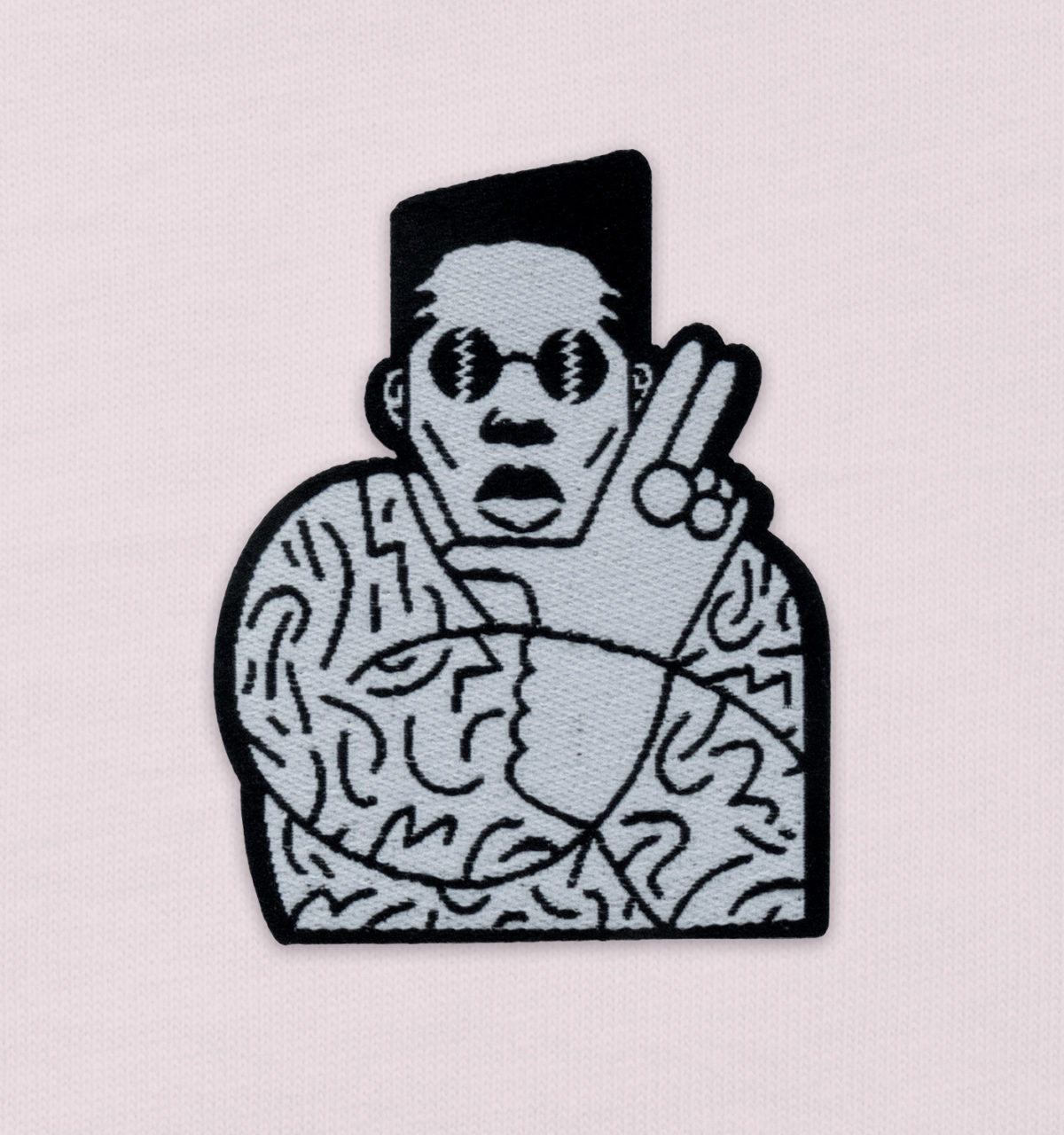 Shabba T-shirt (pink) patch detail by GABE
